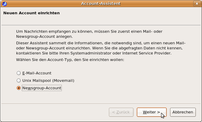 Account-Assistent: Neuen Account einrichten