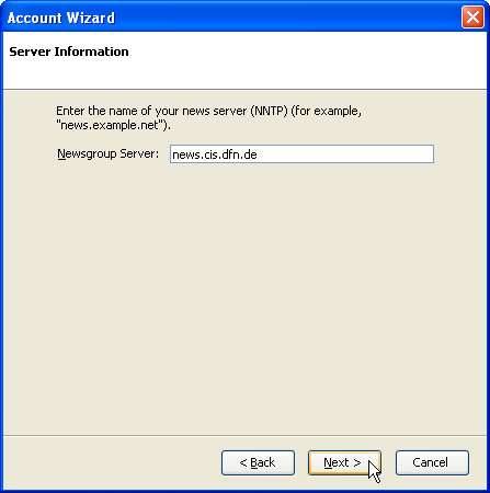 Account wizard: Server Information