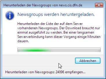 Download der Newsgruppenliste