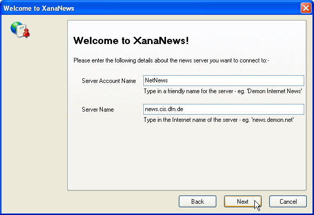 Welcome to XanaNews - Eingabe Server Account Name und Server Name